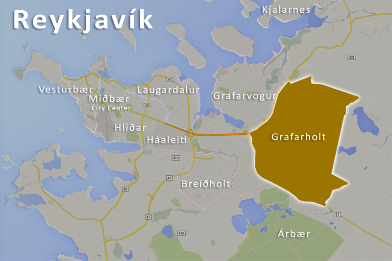 Reykjavík Iceland map of Grafarholt district