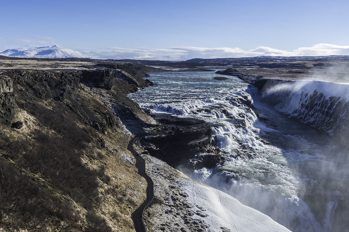 The volume of the waterfall at Gullfoss can vary 20 fold between seasons