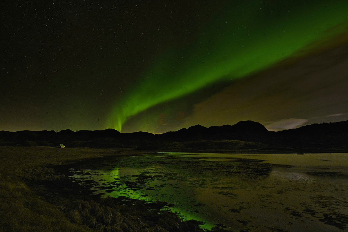 Norhern Lights by Kleifarvatn lake in november 2018