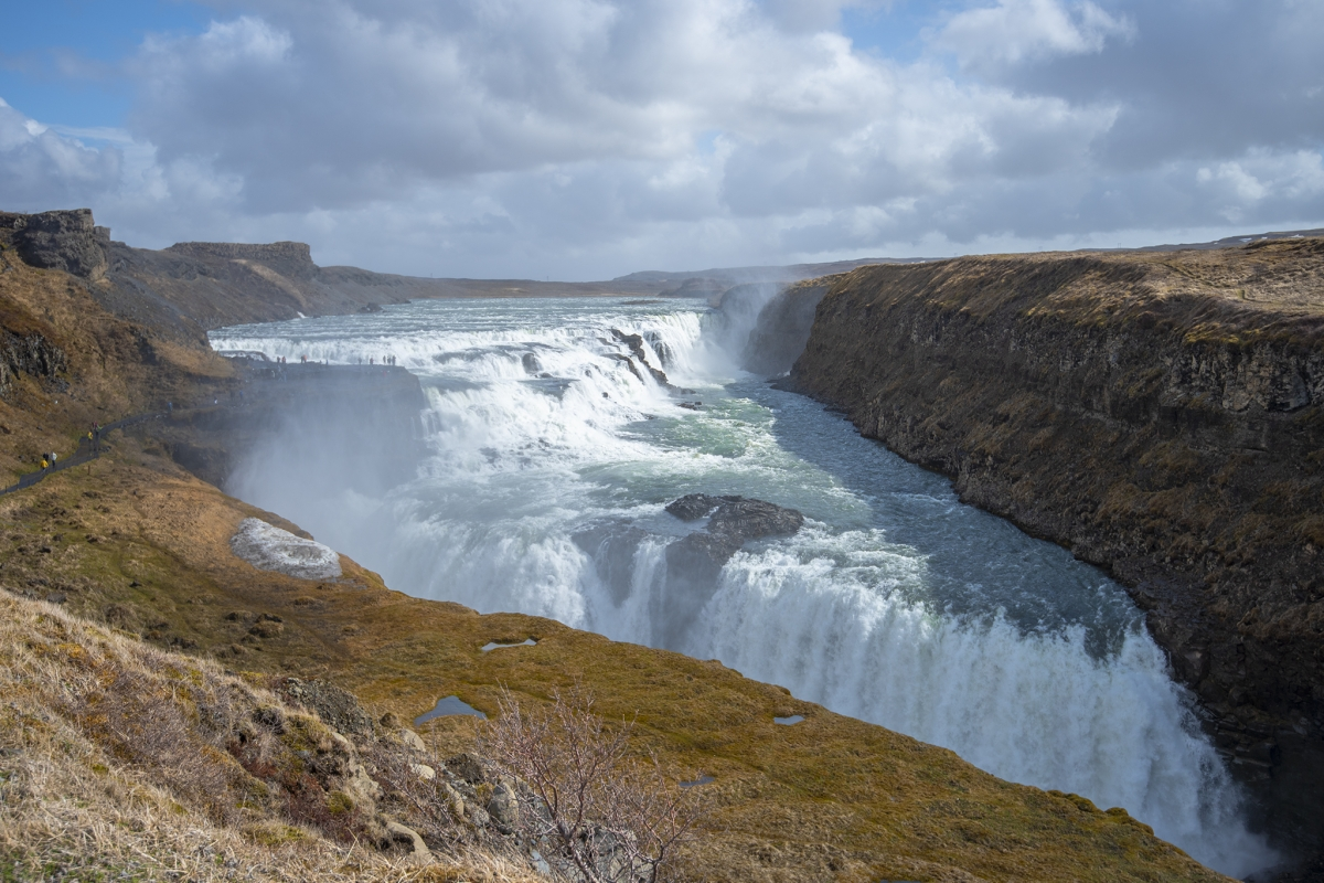 Gullfoss waterfall in spring