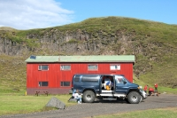 Hólaskjól campsite in highland in Iceland