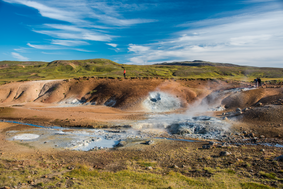 On the road to Krýsuvík, you will pass the beautiful solfatara field at Seltún.