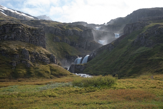 Klifbrekkufossar is a name for a series of small waterfalls one above the other at the bottom of the fjord Mjóifjörður in eastern Iceland.