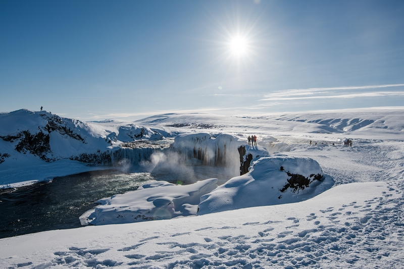Photograping a waterfall in winter in Iceland
