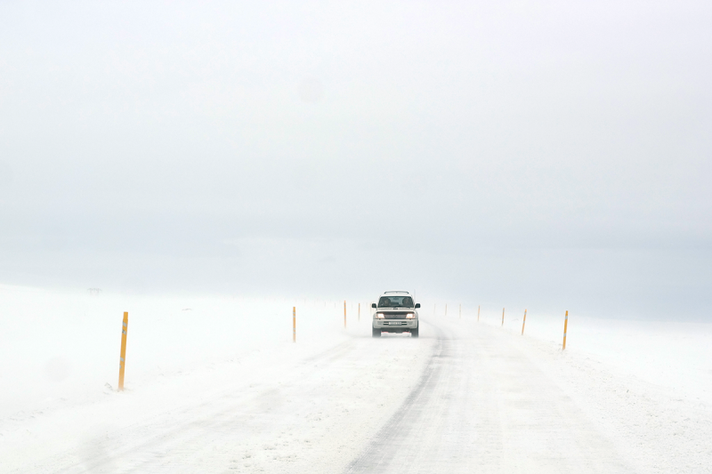 During the winter it can be quite challenging to drive on the Icelandic roads.