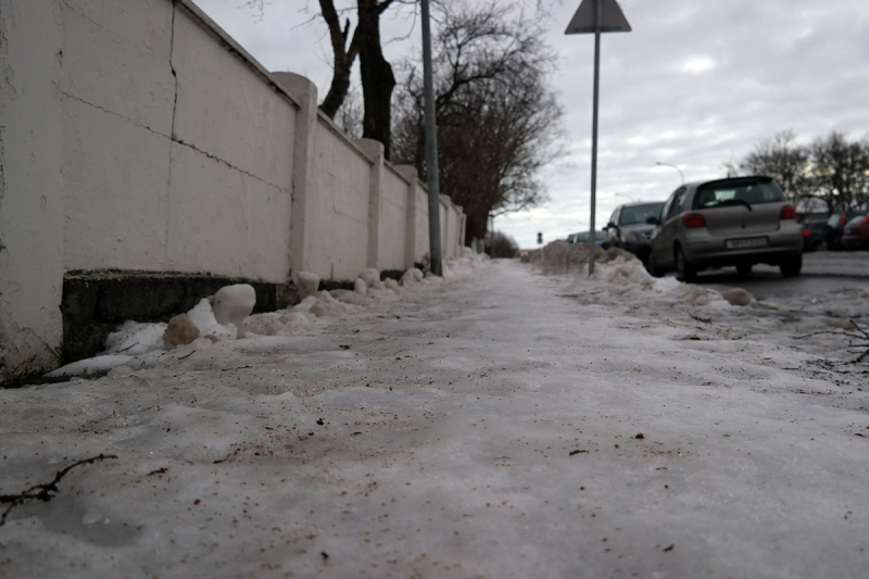 The snow on pavements tends to form an ice surface.