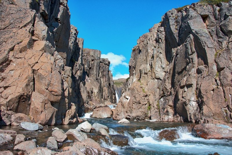 This beautiful small canyon is in Bjarnarfjörður