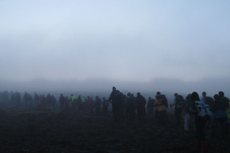 It is not unusual to hit fog of Fimmvörðuháls in Iceland