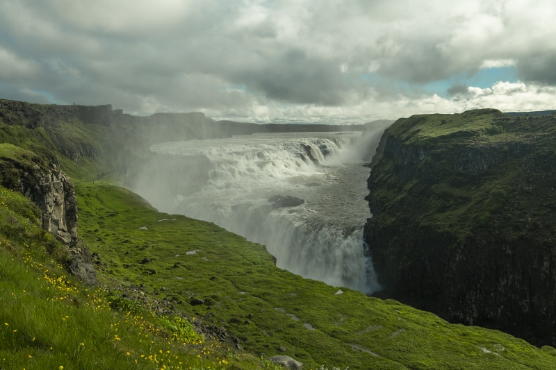 Gullfoss waterfall in summer - part of the Golden Circle Tour