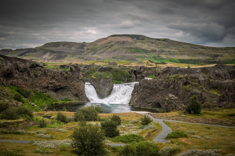 The waterfall Hjálparfoss is among 20 waterfalls in Iceland that are easily accessible and popular