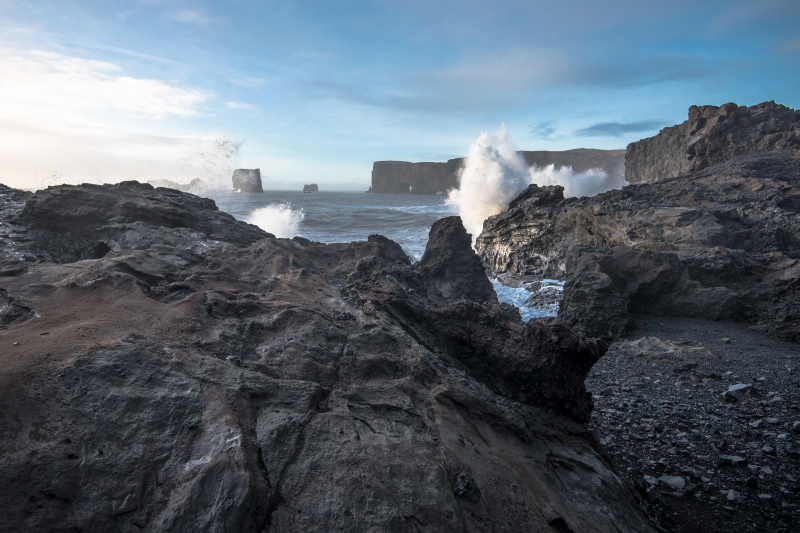 The waves at Kirkjufjara can be very large and dangerous