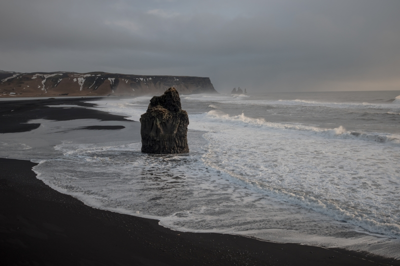 The view to Reynisfjara beach is spectacular, even on a bad weather day