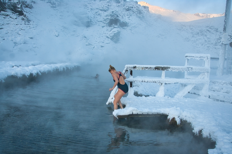 The geothermal pool at Landmannalaugar is open all year round