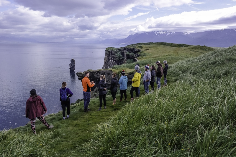 Standing by the 200 meter cliff at Drangey island