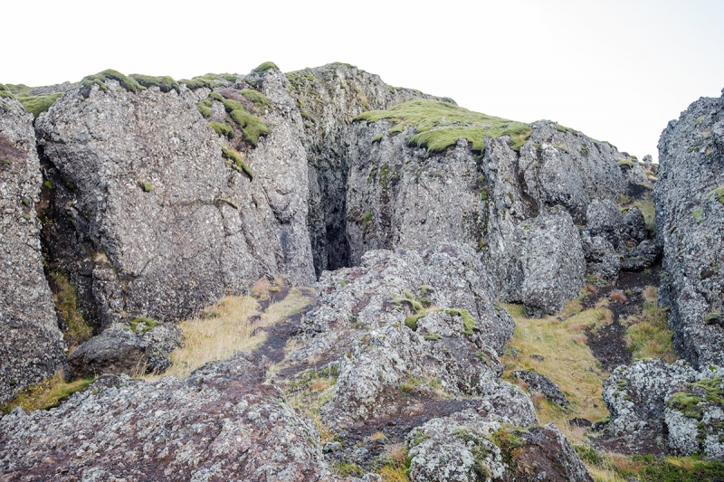 The Lambafell fissure is an open fissure in an oval hyaloclastite mount named Lambafell