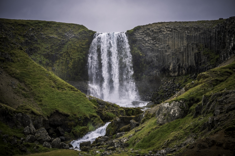 Svöðufoss waterfall is located at Snæfellsnes Peninsula south of the small village Rif.