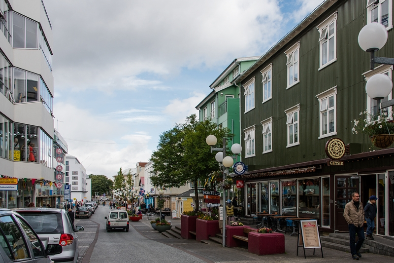 The main street in Akureyri has many restaurants, cafés and stores.