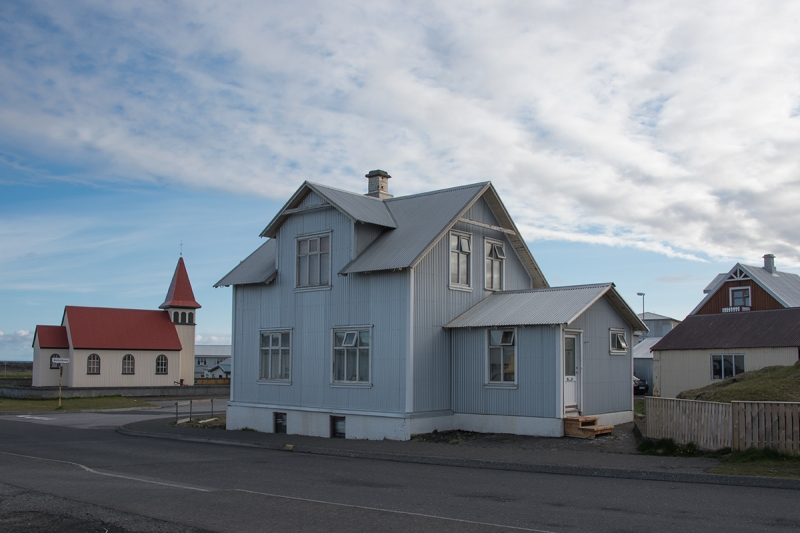 Old houses and the  old church in Grindavík