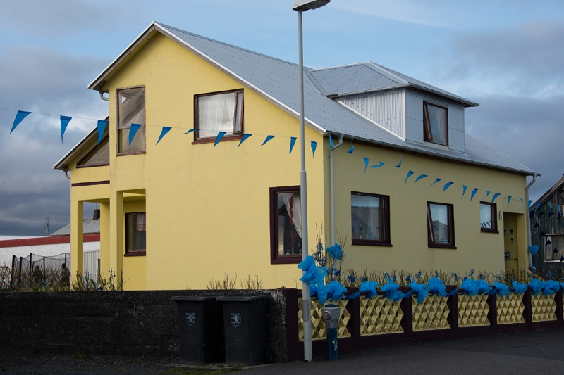 People in Grindavík decorate their homes on the day of the fisherman