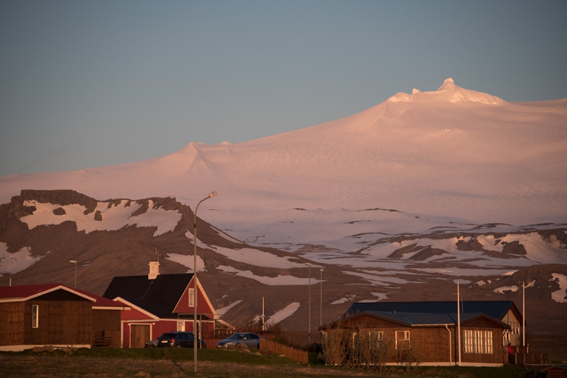 The glacier Snæfellsjokull is always preset in the background.