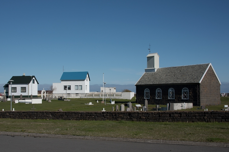 Old houses and a old church in Reykjanesbær near Keflavík Airport