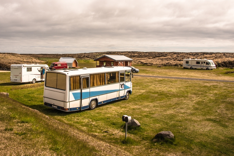 Camping site in Sandgerði town in Iceland